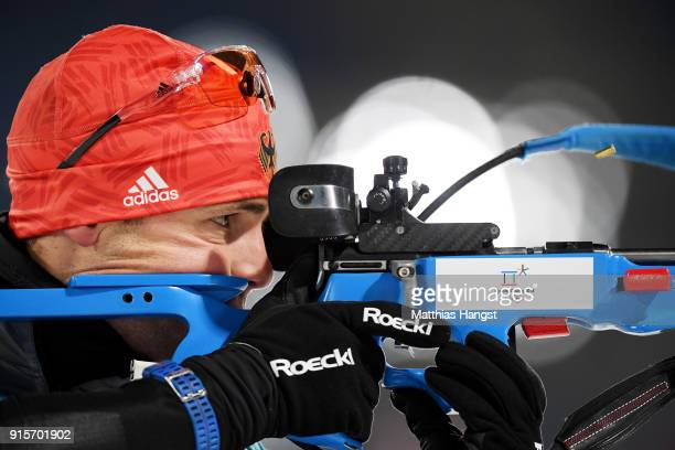 Biathlete Simon Schempp of Germany trains ahead of the PyeongChang 2018 Winter Olympic Games at Alpensia Biathlon Centre on February 8 2018 in...