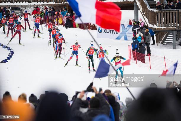 Biathletes compete during the IBU Biathlon World Cup Men's Mass Start on December 17, 2017 in Le Grand Bornand, France.
