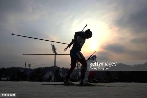 Biathletes compete in the Women's 4x6km relay during the BMW IBU World Cup Biathlon 2017 test event for PyeongChang 2018 Winter Olympic Games at...