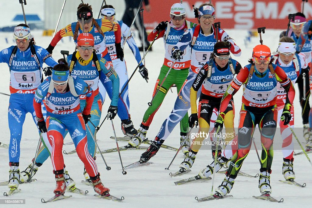 Biathletes compete in Women 4x6 km Relay during an IBU World Cup Biathlon at Laura Cross Country and Biathlon Centre in Sochi on March 10, 2013