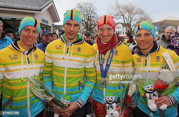 Biathletes Daniel Boehm, Arnd Peiffer, Luger Tatjana Huefner and Biathlete Erik Lesser at the Welcome Home Reception Held for Thuringian Olympic...