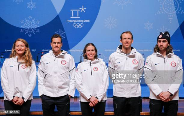 US biathletes Emily Dreissigacker Tim Burke Susan Dunklee Lowell Bailey and Sean Doherty pose at the end of a press conference ahead of the...