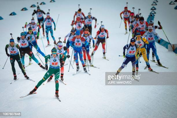 Biathletes start the Mixed Relay competition of the IBU Biathlon World Cup in Pokljuka on December 2 2018
