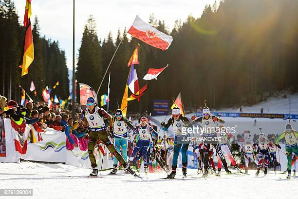 Biathletes take the start of the Women's 4x6 km relay race of the IBU Biathlon World Cup in Pokljuka Slovenia on December 11 2016 / AFP / Jure MAKOVEC