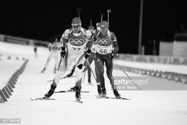 2018 Winter Olympics Bugaria Krasimir Anev and Ukraine Serhiy Semenov in action during Men's 125km Pursuit at Alpensia CrossCountry Centre...