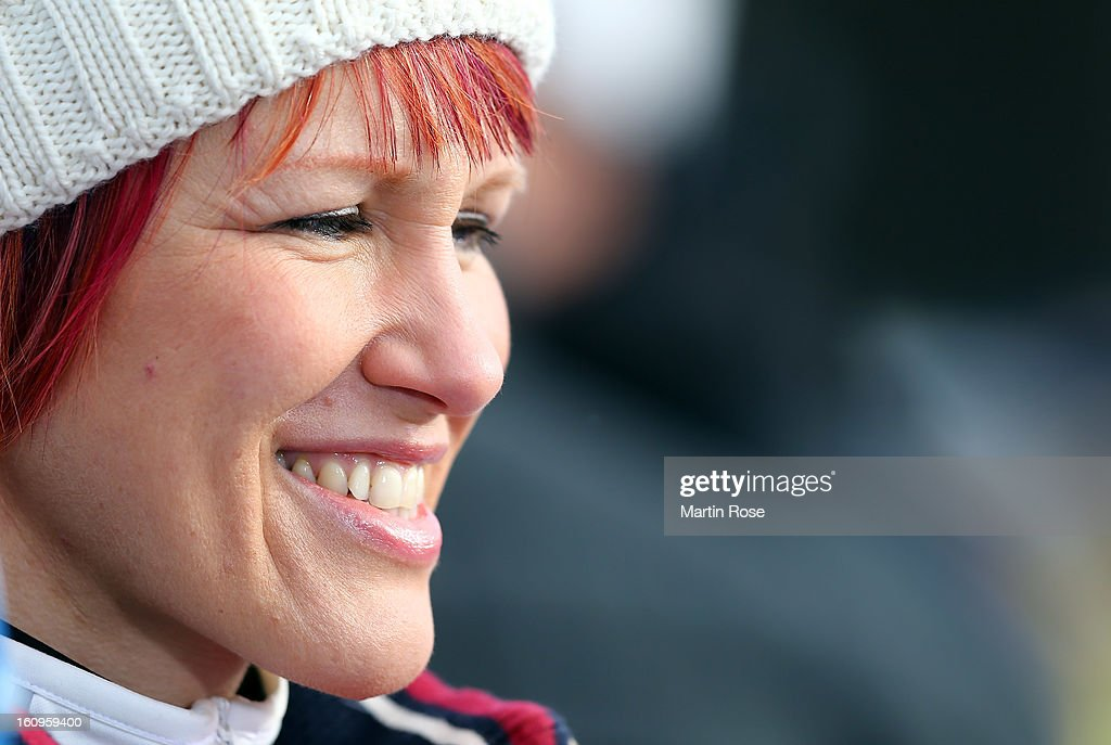 Biathlon and TV expert Kati Wilhelm looks on during an offical training session during the IBU Biathlon World Championships at Vysocina Arena on February 8, 2013 in Nove Mesto na Morave, Czech Republic.