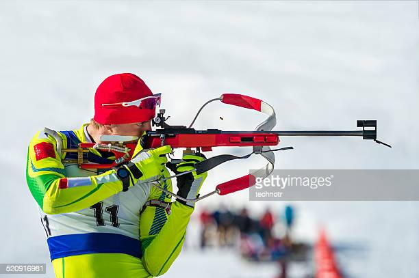 Biathlon competitor at shooting range
