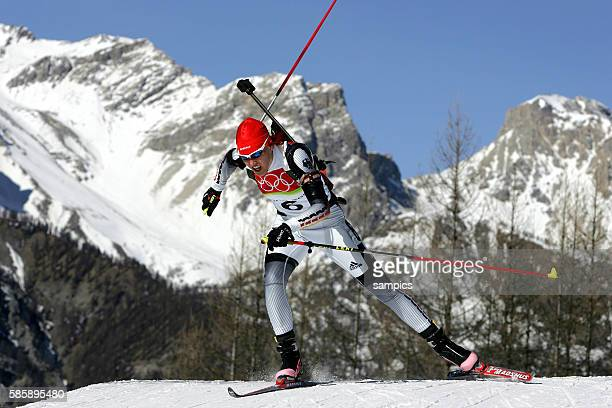 Biathlon Frauen biathlon women 15km individual Kati Wilhelm olympische Winterspiele in Turin 2006 olympic winter games in torino 2006 | Location San...