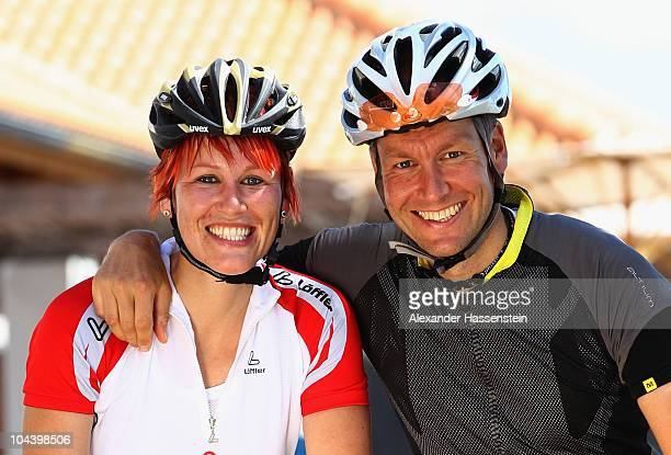 Biathlon Olympic champion Kati Wilhelm rides racing cycle with Andreas Emslander during the 'Champion des Jahres' event week at the Robinson Club...