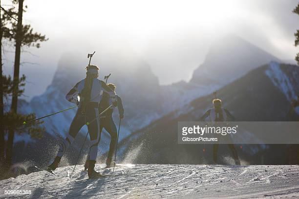 Biathlon Ski-Rennteilnehmer