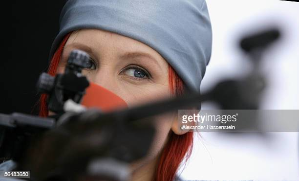 Biathlon star Kati Wilhelm posing during the day 2 of the making of the preview winter olympics on December 21, 2005 in Oberhof near Erfurt, Germany.
