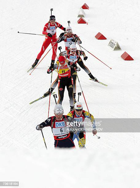 Biathlonists compete during the IBU World Cup biathlon final women's 10 km pursuit 17 March 2007 in the Siberian city of KhantyMansiysk Germany's...