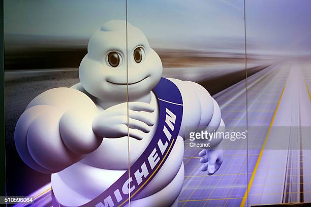 Bibendum the mascot of the Michelin tire company is seen during a press conference to present the group's results on February 16 2016 in Paris France...