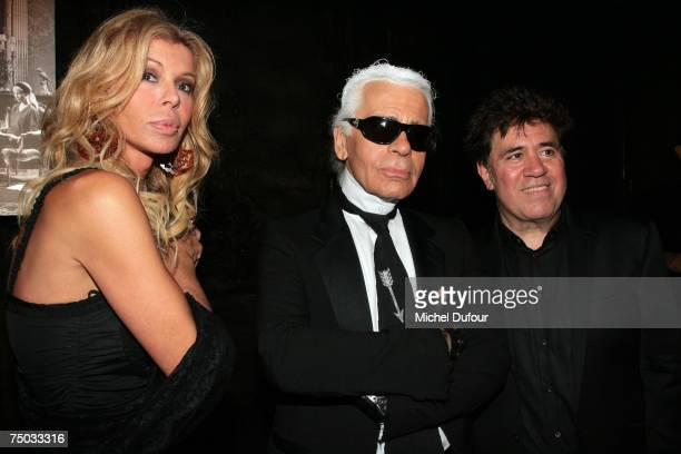 Bibi Anderson Karl Lagerfeld and Pedro Almodovar attend the Karl Lagerfeld party hosted by Dom Perignon at Lagerfeld's home on July 4 2007 in Paris...