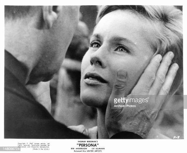 Bibi Andersson has her face touched by man in a scene from the film 'Persona' 1966