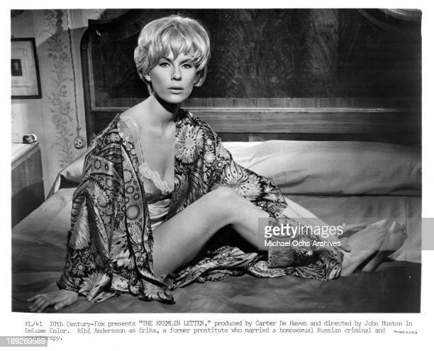 Bibi Andersson in bed in a scene from the film 'The Kremlin Letter' 1970