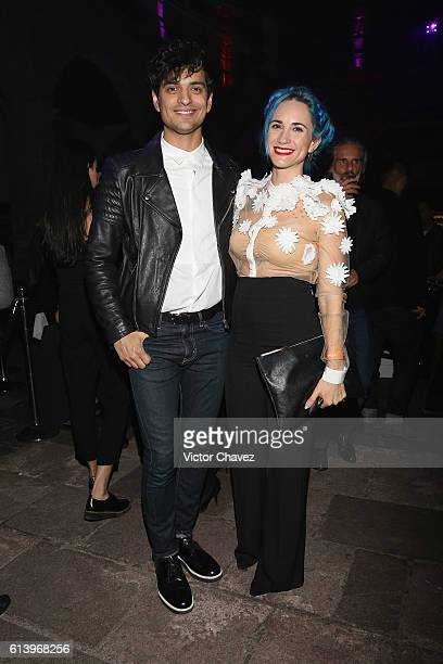 Bibi Marin of Reik and his wife Kalinda Kano attend the first day of MercedesBenz Fashion Week Mexico Spring/Summer 2017 at Ex Convento De San...