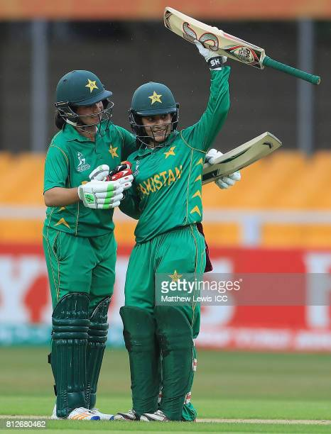 Bibi Nahida of Pakistan congratulates Javeria Wadood on her half century during the ICC Women's World Cup 2017 match between West Indies and Pakistan...