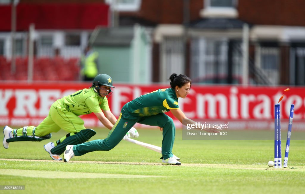 Bibi Nahida of Pakistan is run out by Marizanne Kapp of South Africa during the ICC Women's World Cup match between Pakistan and South Africa at Grace Road on June 25, 2017 in Leicester, England.