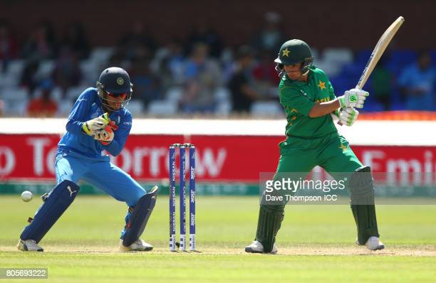 Bibi Nahida of Pakistan plays a shot in front of Sushma Verma of India during the ICC Women's World Cup match between India and Pakistan at The 3aaa...