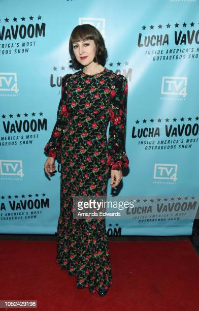 Bibi Poubelle arrives at the 'Lucha Vavoom Inside America's Most Outrageous Show' premiere at the Harmony Gold Theatre on October 17 2018 in Los...