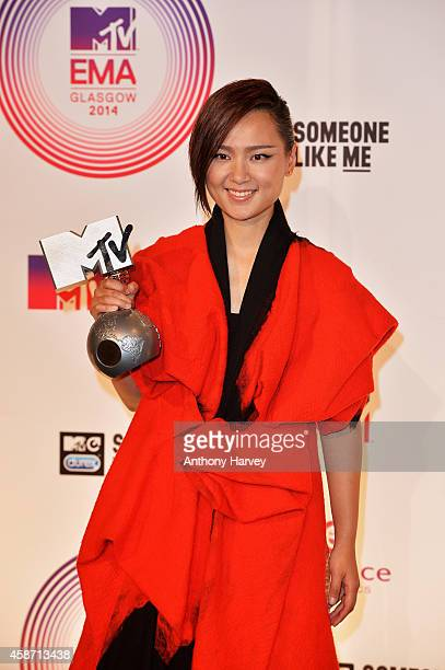 Bibi Zhou poses in the winners room at the MTV EMA's 2014 after winning the award for Worldwide Act at The Hydro on November 9 2014 in Glasgow...