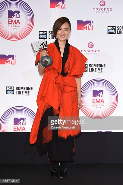 Bibi Zhou poses in the winners room at the MTV EMA's 2014 at The Hydro on November 9 2014 in Glasgow Scotland