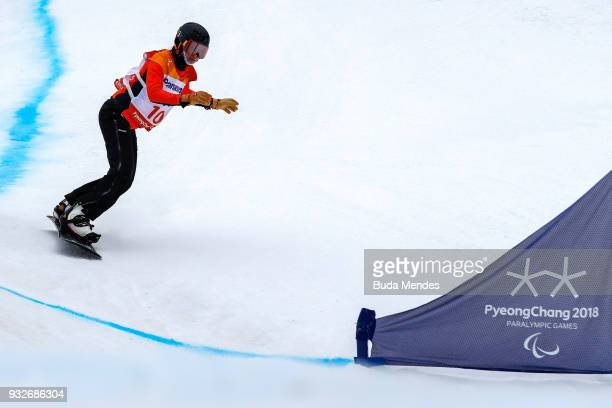Bibian MentelSpee of Netherlands competes during the Women's Banked Slalom SBLL2 during day seven of the PyeongChang 2018 Paralympic Games on March...