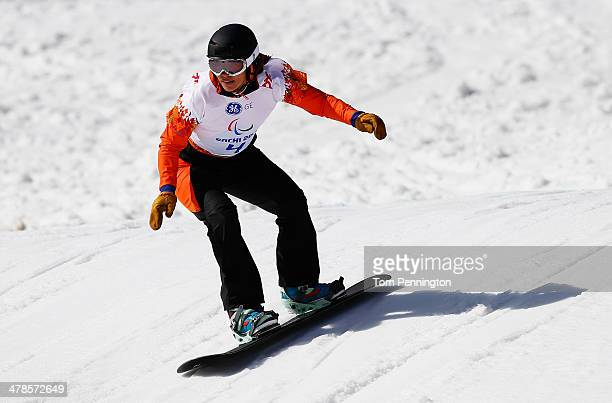 Bibian MentelSpee of the Netherlands competes during the Women's Para Snowboard Cross Standing on day seven of the Sochi 2014 Paralympic Winter Games...