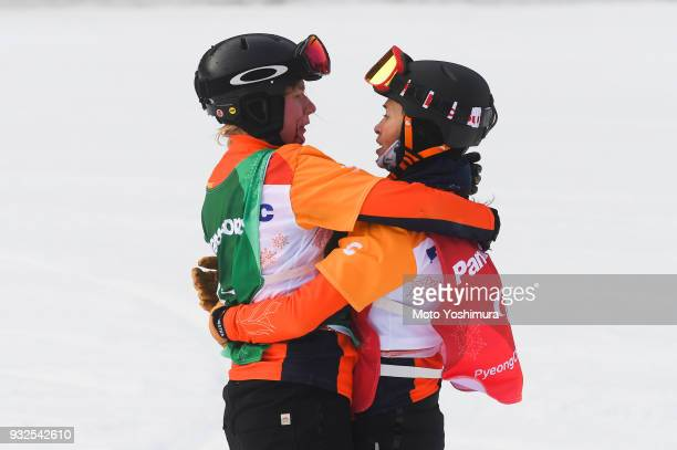 Bibian MentelSpee of the Netherlands is congratulated by Silver medalist Lisa Bunschoten of the Netherlands after winning the Gold medal in Women's...