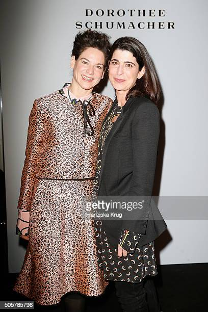 Bibiana Beglau and Dorothee Schuhmacher attend the Dorothee Schumacher in cooperation with Mastercard show during the MercedesBenz Fashion Week...