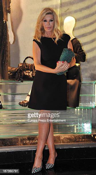 Bibiana Fernandez poses in front of the new Prada flagship store on November 7 2013 in Barcelona Spain