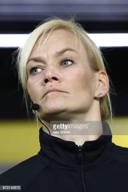 Bibiana Steinhaus fourth official referee before the Bundesliga match between Borussia Dortmund and FC Bayern Muenchen at Signal Iduna Park on...