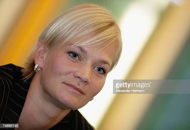 Bibiana Steinhaus is presented to the media as first woman referee in charge with second division matches of the german Bundesliga at the headquarter...
