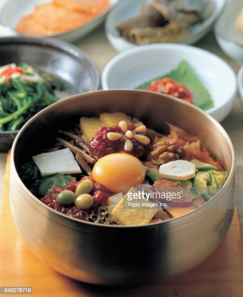 Bibimbab _ Rice mixed with vegetables and chili paste, Korean Food