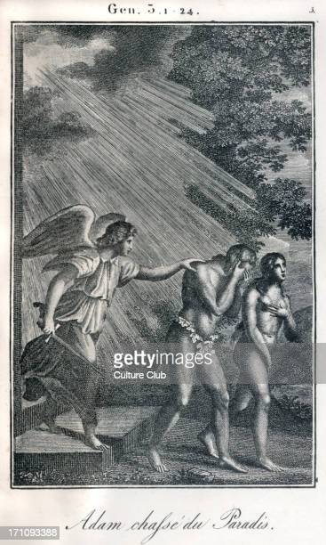 Bible Adam and Eve being banished from Paradise / Garden of Eden Fiery angel sending them out Genesis