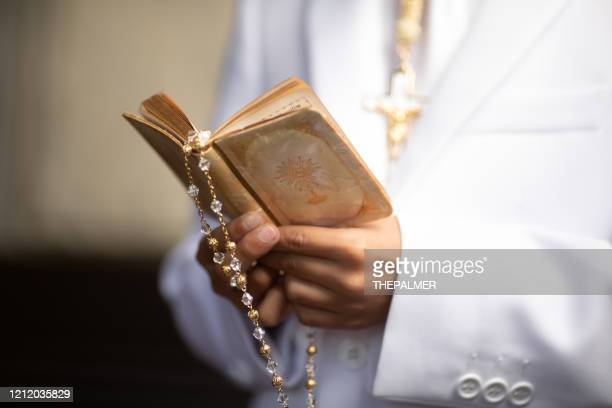 bible and rosary - prayer book stock pictures, royalty-free photos & images