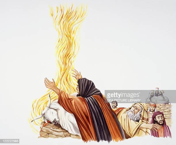 Bible Elijah and the prophets of Baal sacrifice calves at Mount Carmel Drawing