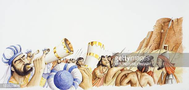 Bible Joshua and the Israelites conquer Jericho Drawing