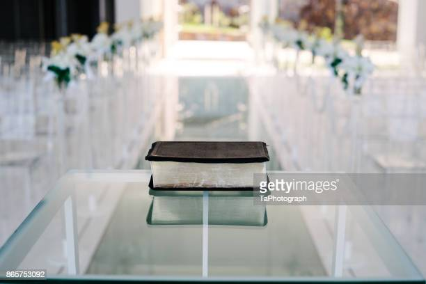 Bible on the glass table