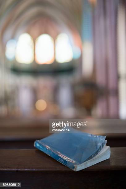 A bible on the table in the church.