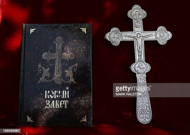 A bible used during the service conducted by Russian Orthodox Patriarch Kirill at the Russian Embassy in Beijing during his first ever visit to China...