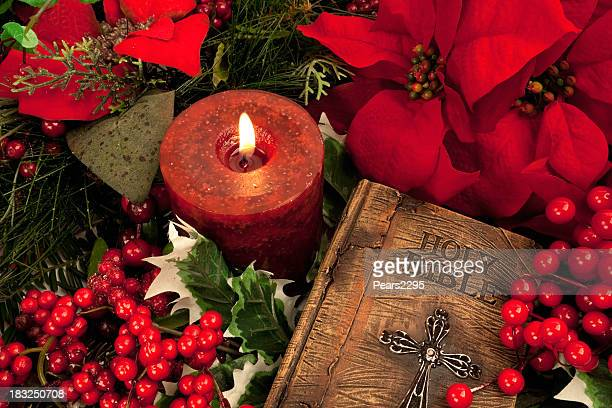 Bible with Christmas Arrangement