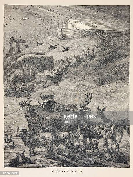 Biblical engraving, animals boarding Noah's Ark (1873)