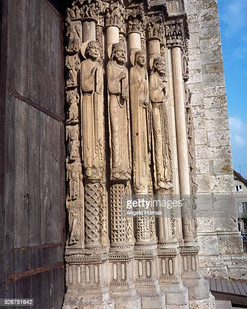 Biblical Kings and Queens flank the 'Portrail Royal' at Chartres Cathedral Notre Dame France