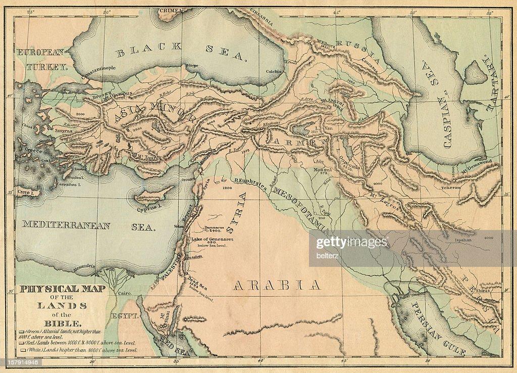 Biblical lands map : Stock Photo