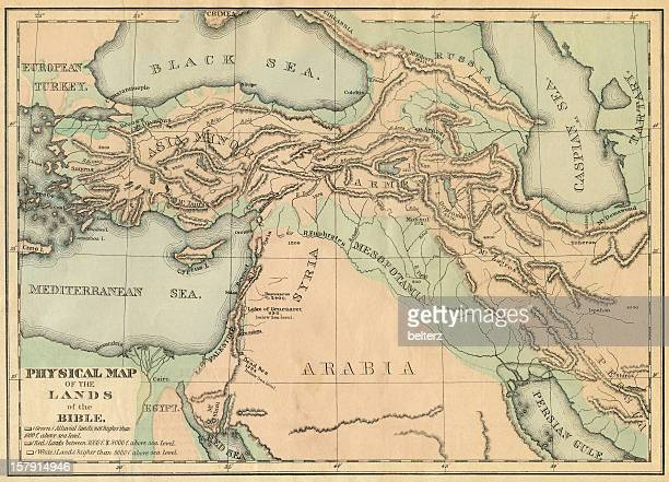 biblical lands map - mesopotamian stock photos and pictures