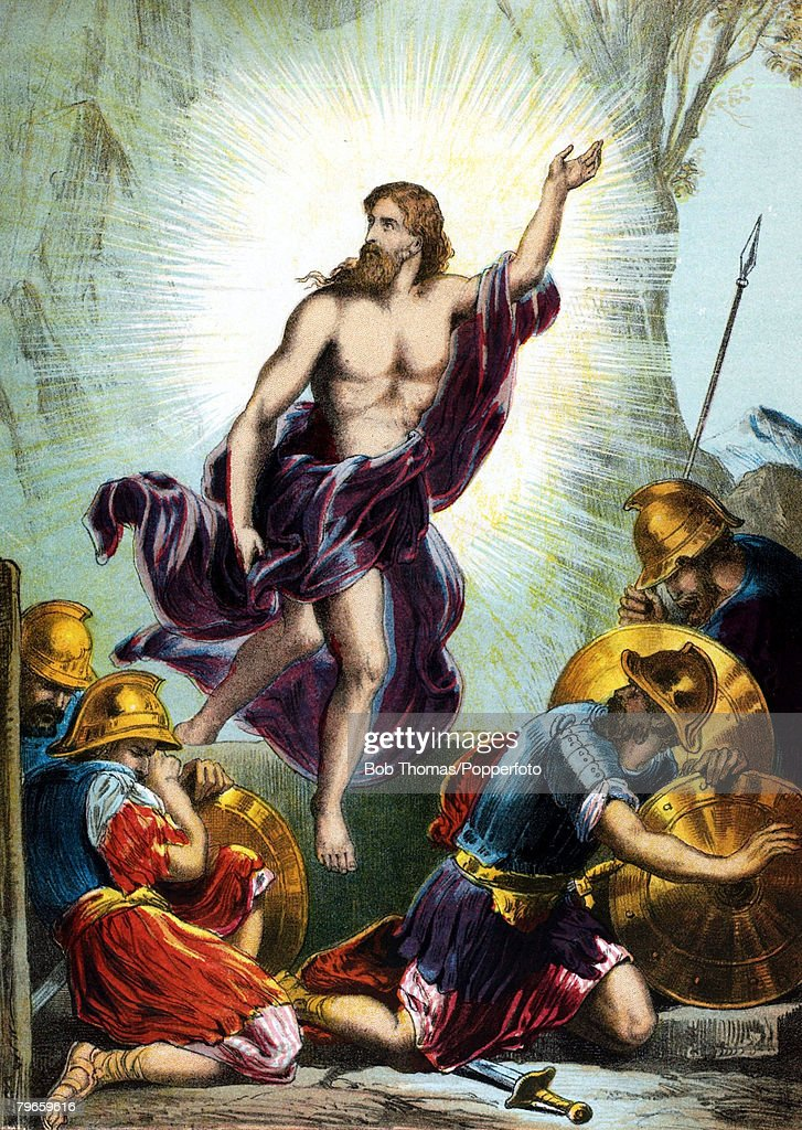 """Biblical Scenes, New Testament, Colour illustration entitled """"The Resurecrection"""" shows Jesus rising from the dead as the soldiers cower from the light : News Photo"""