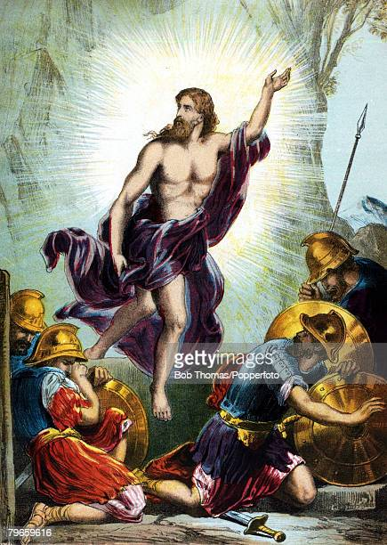 Biblical Scenes New Testament Colour illustration entitled The Resurecrection shows Jesus rising from the dead as the soldiers cower from the light