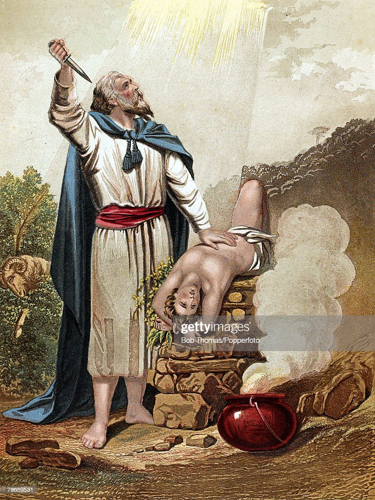 Biblical Scenes, Old Testament, Colour illustration entitled 'Abraham offering up Isaac', Abraham's faith in God was put to the test when called upon to offer his son's life as sacrifice, God seeing he was of strong faith and willing to follow his words, saved his son Isaac